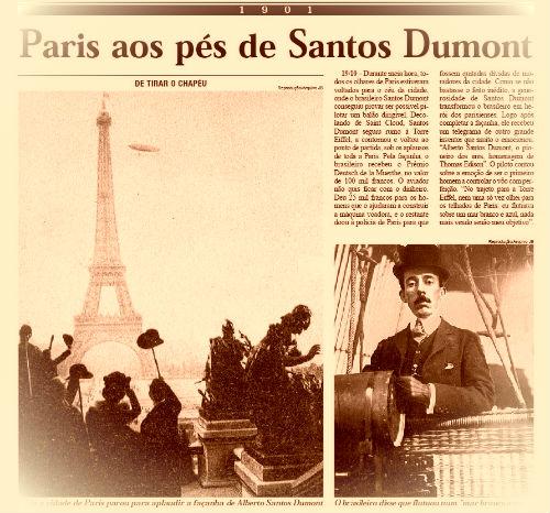 """""""No trajeto para a Torre Eiffel, nem uma só vez olhei para os telhados de Paris: eu flutuava sobre um mar branco e azul, nada mais vendo senão meu objetivo"""". Dumont"""